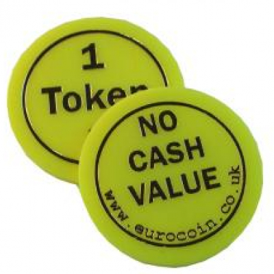 """1"" Yellow plastic token"